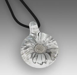 White Round Pendant (Shown with hair clippings)