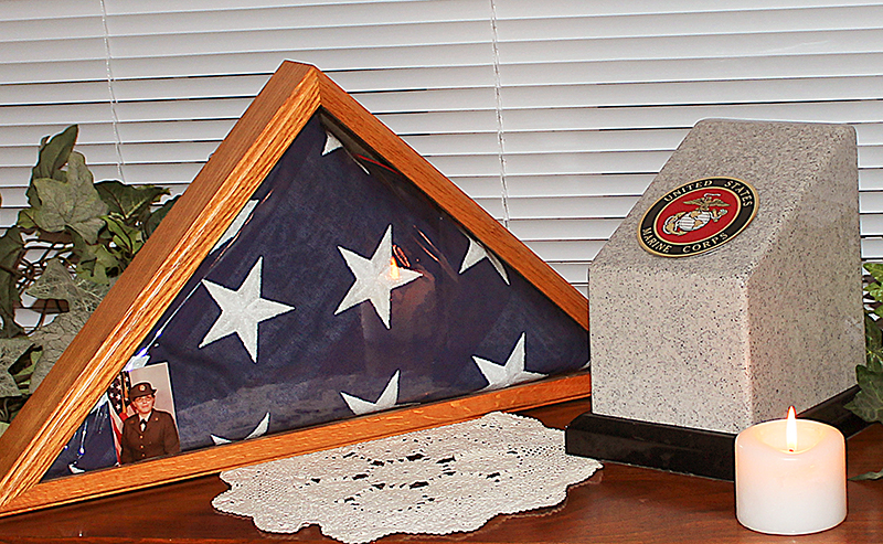 Military Urn with Emblem and a Flag Box